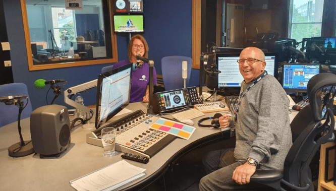 Radio Leicester studio hosts Teresa Hames for Strong Girls Can discussion